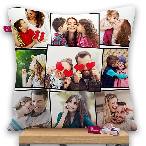 9 Photo Personalized Satin Collage Photo Pillow With Filler