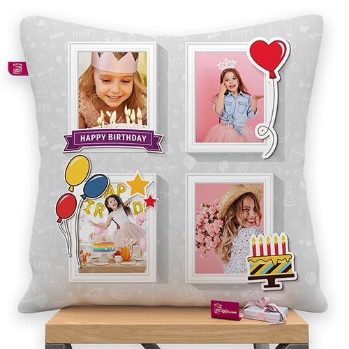 Happy Birthday Design 4 Photos Personalized Satin Pillow With Filler