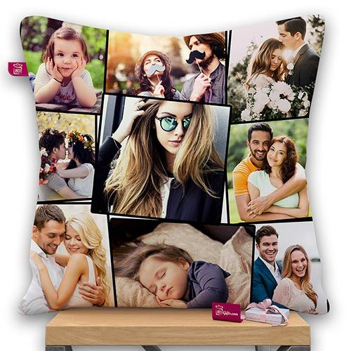 9 photo collage Personalized Satin Photo Pillow With Filler