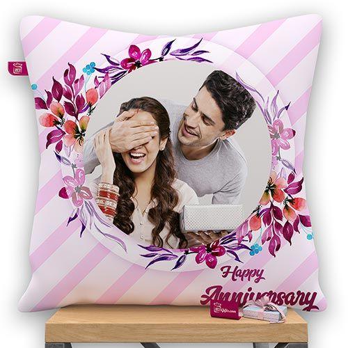 Happy Anniversary Personalized Satin Photo Pillow