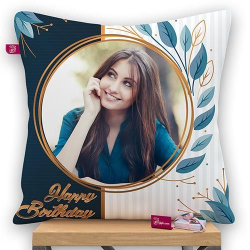 Birthday Round Design Personalized Photo Pillow With Filler